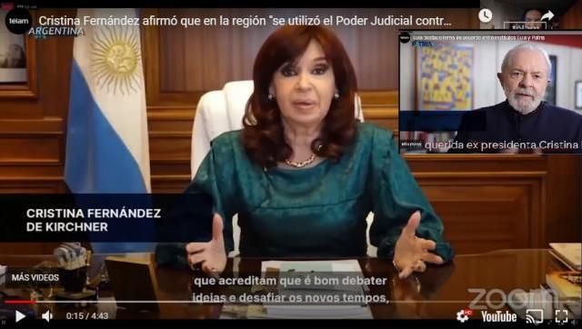 Cristina Fernández compartió un encuentro virtual con el exmandatario de Brasil Luiz Inácio Lula da Silva
